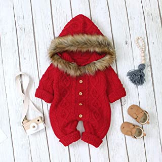 DOLYKUI 0-18 Months Baby Jumpsuit, Winter Baby Boy Girl Sweater Hooded Knit Faux Fur Collar Warm Jumpsuit Clothes, Kids Autumn Winter Christmas Warm Long Sleeve Clothes