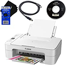 $62 » Canon PIXMA TS3120 Wireless All-in-One Compact Inkjet Printer for Home Use with Print, Scan, Copy (White) + Set of Ink Tanks + USB Printer Cable + HeroFiber Ultra Gentle Cleaning Cloth