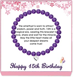 Loduve Gifts for 15 Year Old Girl - Amethyst Beads Bracelet with Gift Wrapping, Card - 15th Birthday Jewelry Gifts Idea fo...