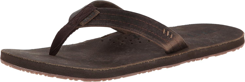 Reef Mens Leather Sandals Draftsmen   Bottle Opener Flip Flops for Men with Soft Cushion Footbed