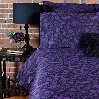 Sin in Linen Purple Bat Botanical Comforter - Elysian Fields Bedding