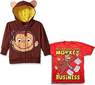 Curious George Hoodie Shirt Set - 2 Pack of Curious George Hoodie and Tee