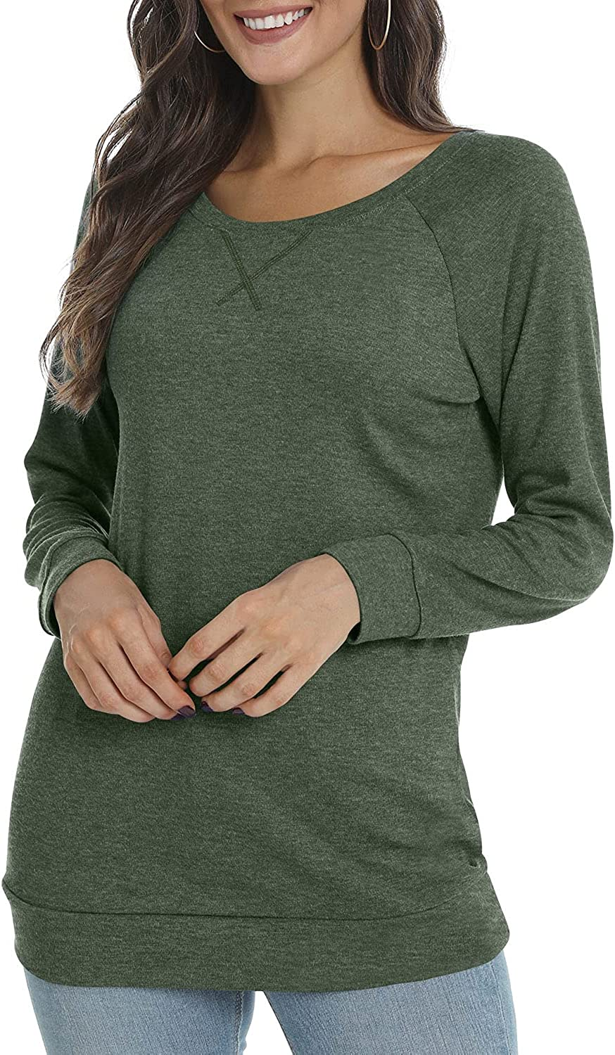 POPYOUNG Women's Fall 55% OFF Long Sleeve Tunic Crewne Tops for Spasm price Leggings
