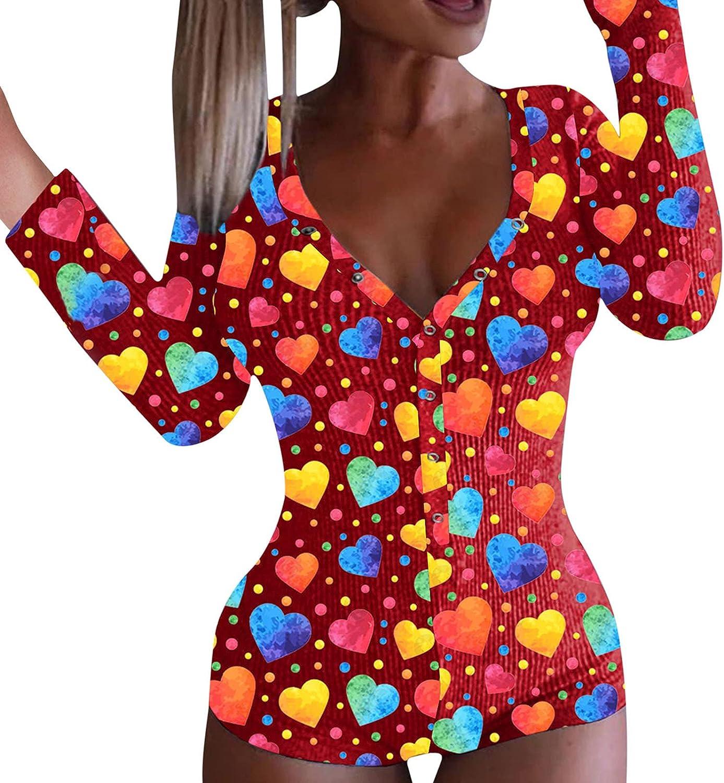 Long Sleeve Bodysuit for Women Sexy Red Lips Print Pajamas One Piece Bodycon Sleepwear Lingeries Sets