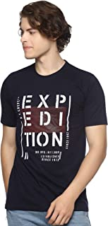 LEVIZO Half Sleeve Cotton Casual Round Neck Printed T Shirts for Men