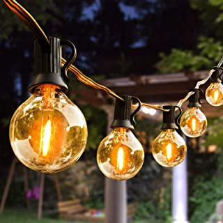 Outdoor String Lights,100ft with 62 Dimmable G40 LED Clear Bulbs UL Approval Waterproof Globe String Lights 1W 2700K Outdo...