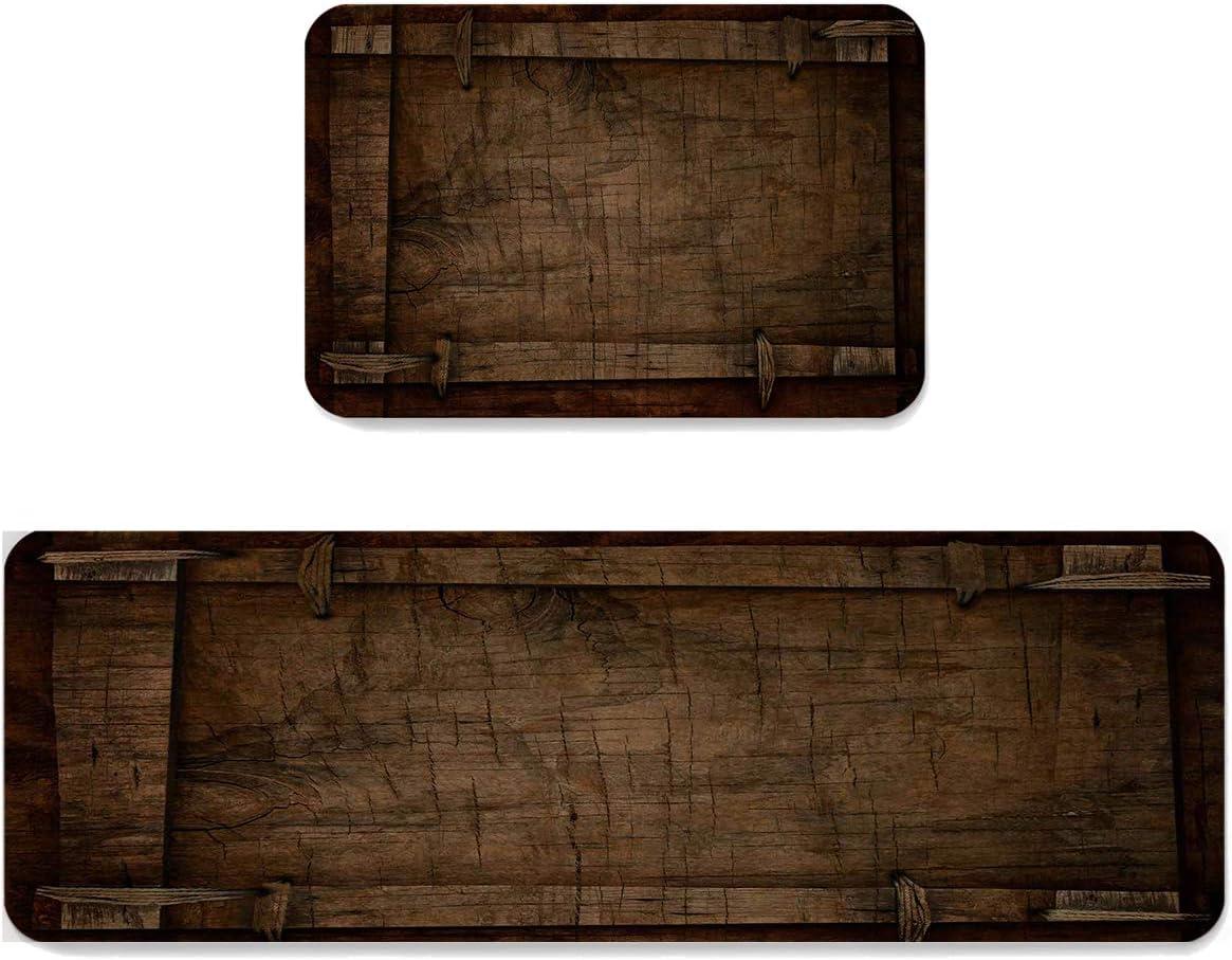 Vintage Farm Wood 定番スタイル Board 2 Pieces Set 男女兼用 Doormats Indoor Kitchen Mat