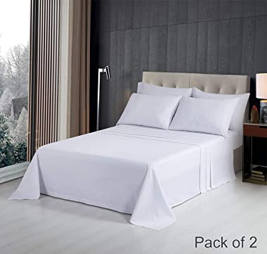 PHF Hotel Collection Flat Sheet 250T Cotton Polyester Percale 2 Pieces King Size White
