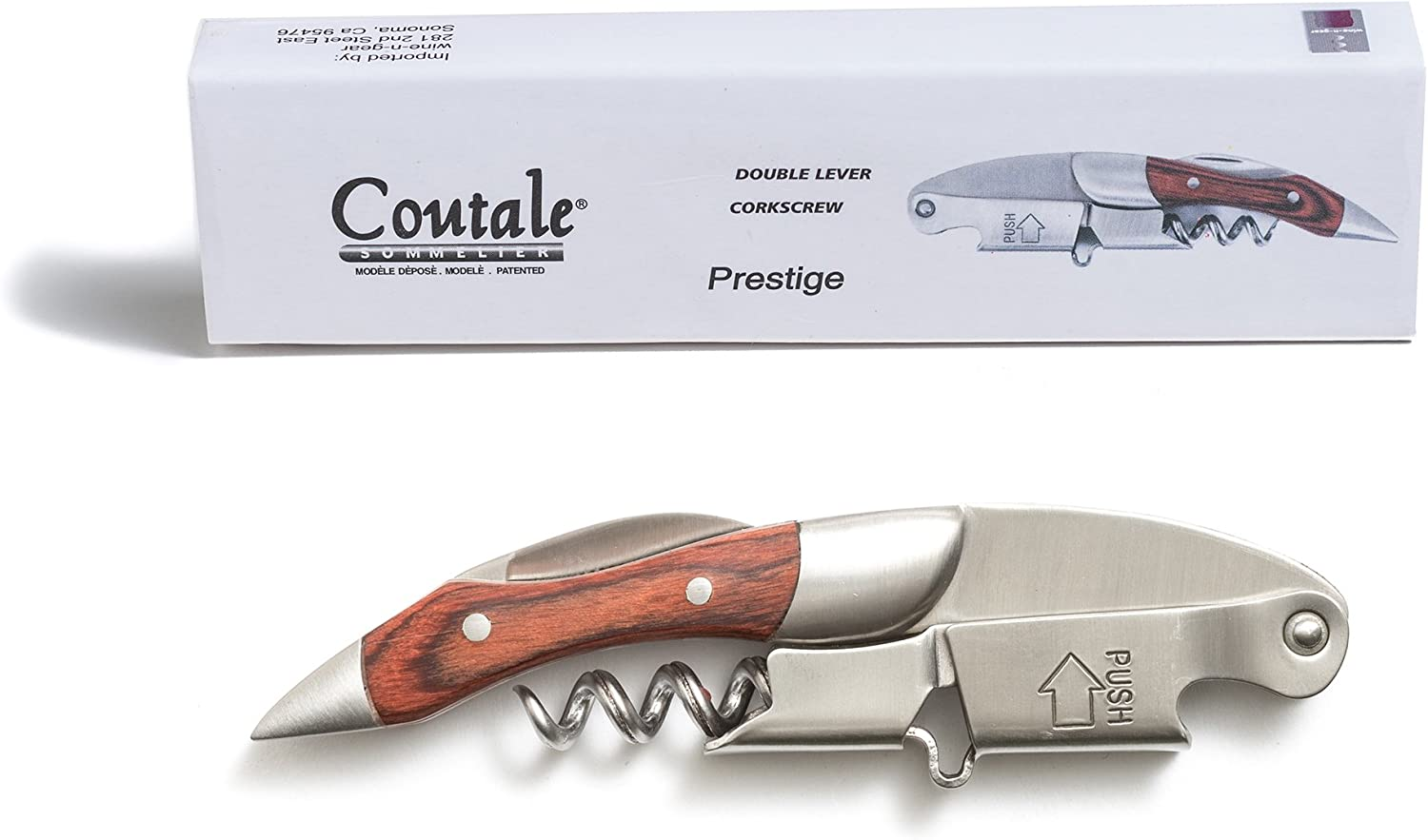 Prestige Waiters Corkscrew By Coutale Sommelier - Rosewood - French Patented Spring-Loaded Double Lever Wine Bottle Opener for Bartenders and Gifts