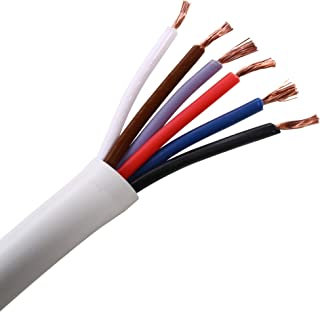 UHPPOTE 22 AWG Gauge 6 Conductor Bare Copper Unshielded Alarm Security Burglar Cable Wire (50ft)