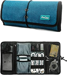 ProCase Roll-up Electronics Organizer, Universal Small Gadget Accessories Travel Carry Case Storage Bag Pouch for Charger USB Cables SD Memory Cards Earphone Flash Hard Drive -Teal