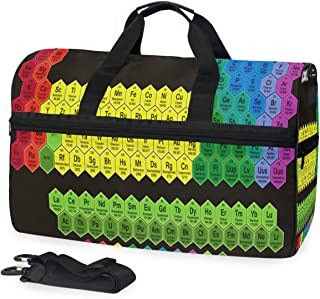 Color Hexagon Periodic Table Sports Gym Bag with Shoes Compartment Travel Duffel Bag for Men Women