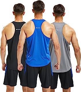 frueo 3 Pack Mens Vest Slimming Vest Tops for Men Training Running Vest Sleeveless Sports Top Underwear