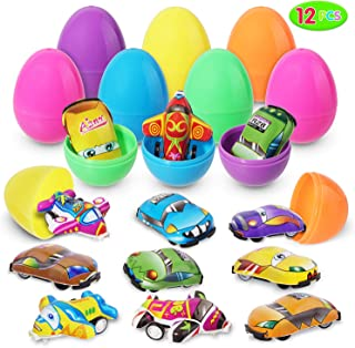 Easter Eggs Filled with Mini Pull-Back Vehicle Toys (12 Pcs); Cartoon Cars & Airplanes Set for Easter Theme Party Favor, Easter Eggs Hunt, Basket Filler, Classroom Prize Supplies.