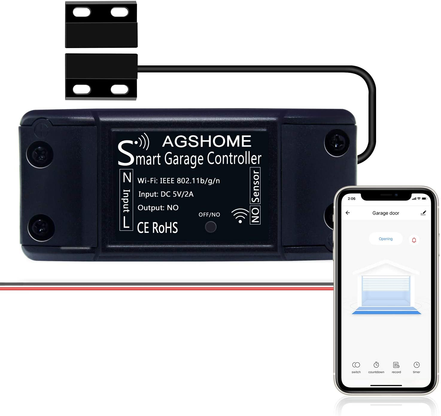 Amazon Com Agshome Smart Wi Fi Garage Door Opener Remote Gate Opener Remote App Control Compatible With Alexa Google Assistant No Hub Needed With Smartphone Control Electronics