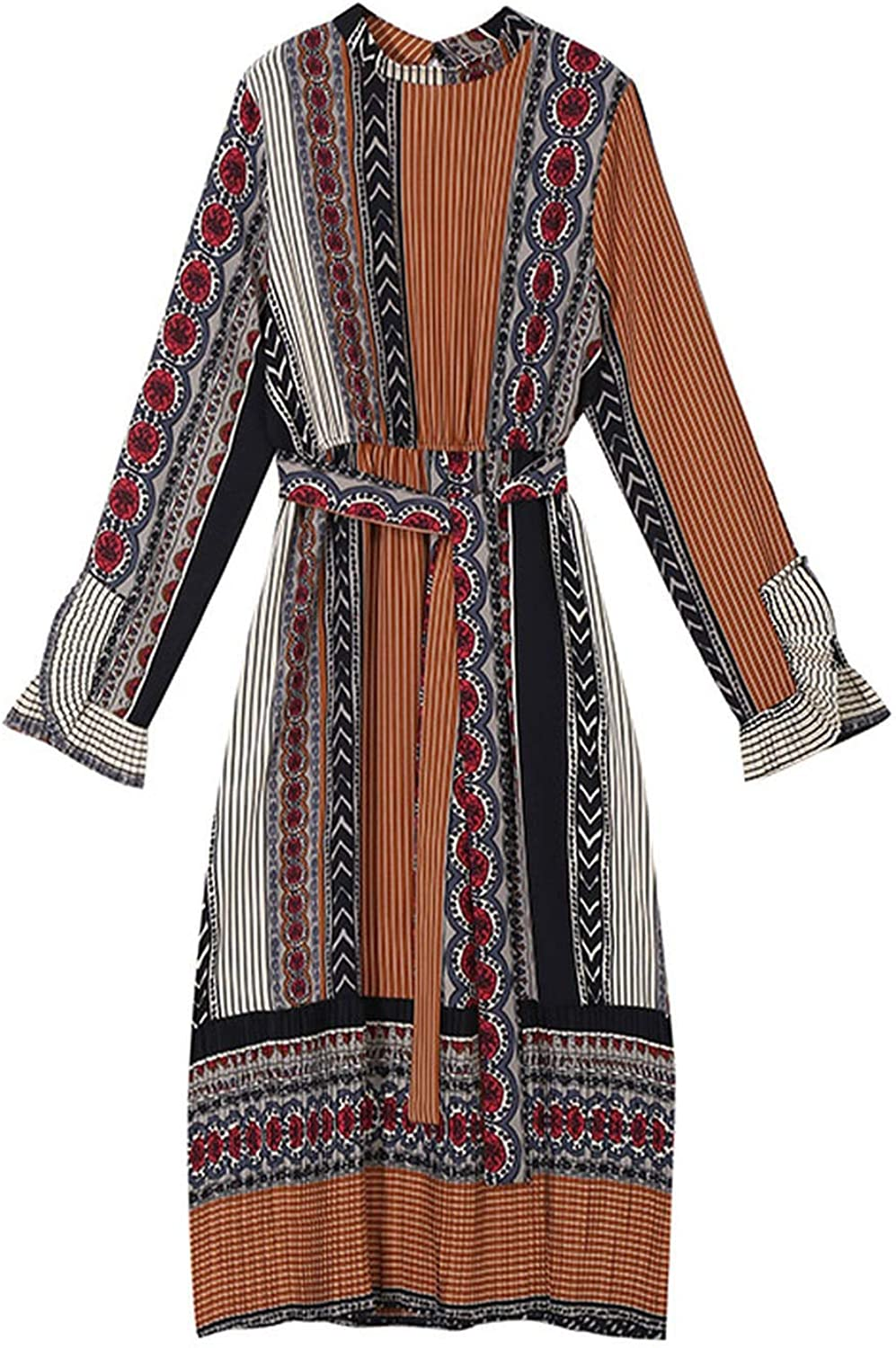 AllAboutUs 2019 Women Spring Long Dress with Sashes Geometrical Pattern Printed Long Sleeve