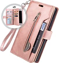 iphone 6S PLUS Wallet Case for Women/Men,Auker Trifold 9 Card Holder Folio Flip Leather Magnetic Wallet Case with Strap,Money Pocket&Kickstand Full Protective Zipper Purse for iphone 6 Plus (RoseGold)