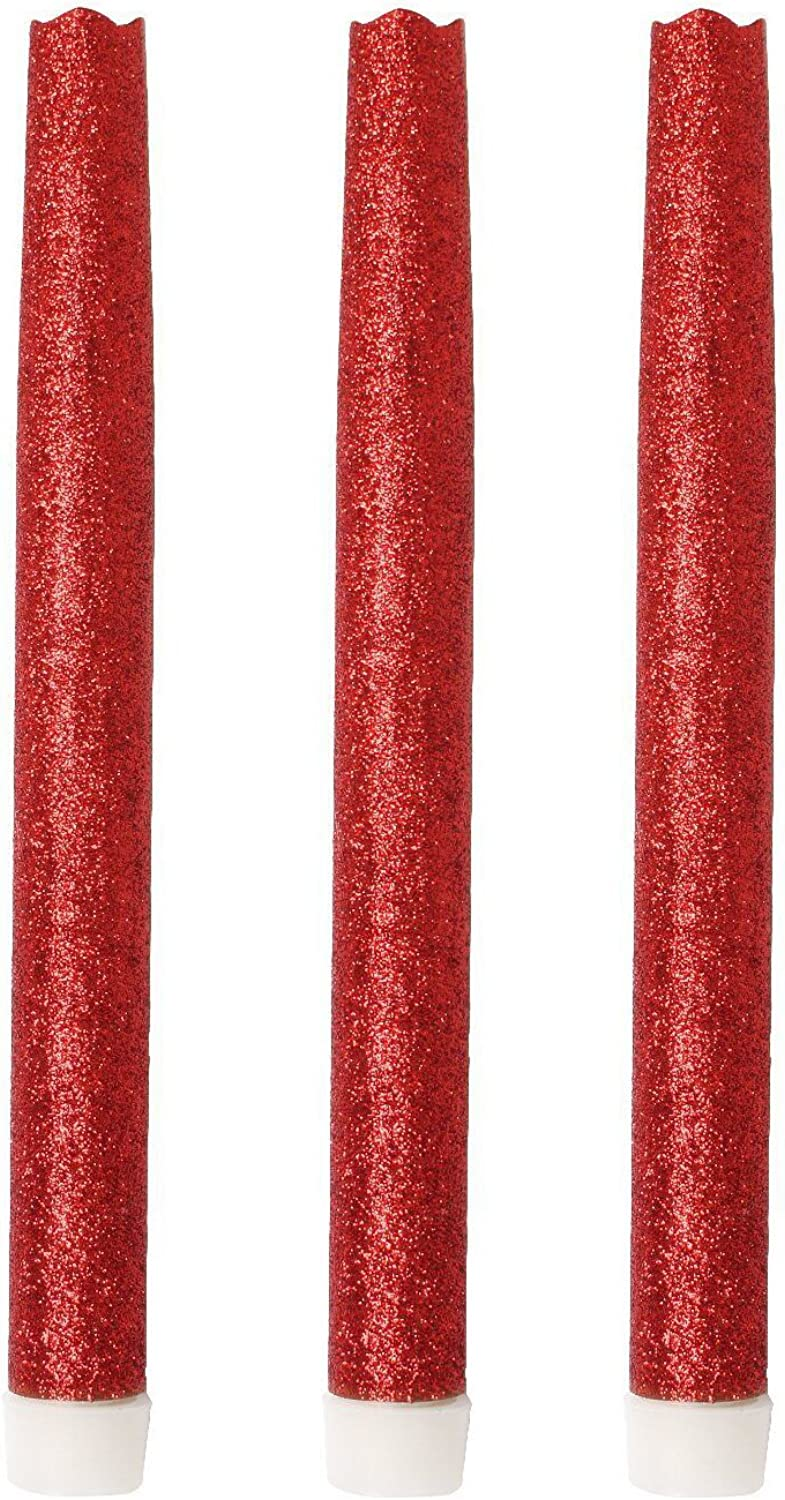 GiveU 9 Inches Melted Led Taper Candles with Timer,Battery Operated,with Red Glitter,Pack of 3