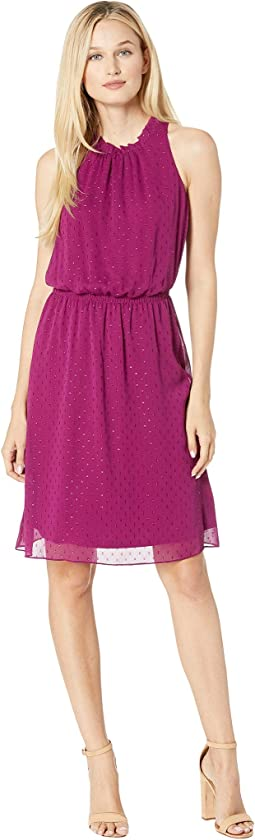 Metallic Clip Dot Sleeveless Ruffle Neck Dress w/ Smocking Detail Waist