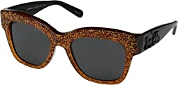 COACH 선글라스 0HC8213,Amber Saddle Glitter/Dark Grey Solid Sunglasses