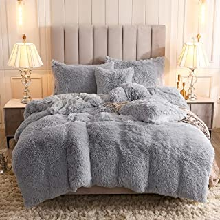 Uhamho Faux Fur Velvet Fluffy Bedding Duvet Cover Set Down Comforter Quilt Cover with Pillow Shams, Ultra Soft Warm and Durable (Queen, Light Gray)