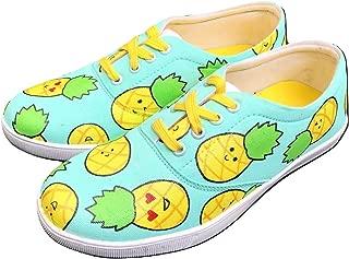 FUNKY N TRENDY Hand Painted Waterproof Mint Pineapple Canvas Casual Shoes