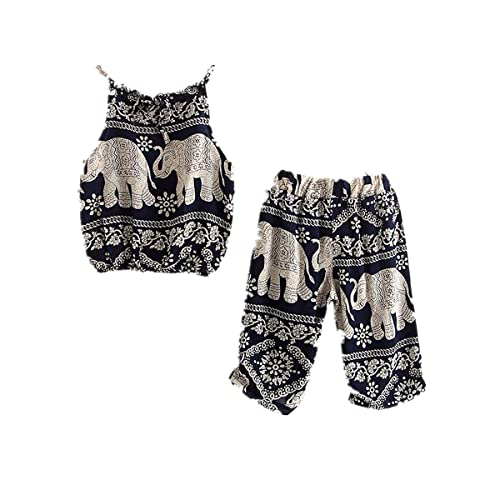 ec88fda32 WINZIK Kids Baby Girls Outfits Boho Big Small Elephant Pattern Camisole +  Pants Beachwear Clothes Set
