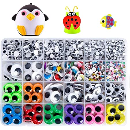 Geluode 1700 pièces Plastique Yeux Mobiles, Autocollant Wiggle Eyes pour DIY Craft Scrapbooking Accessories Doll Making Toys Yeux(Tailles Assorties)