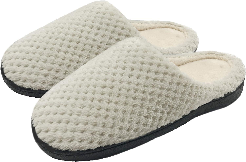 Finoceans Women's House Slippers, Soft Gridding Coral Fleece Memory Foam shoes for Womens, Winter Nonslip Indoor Outdoor Bedroom