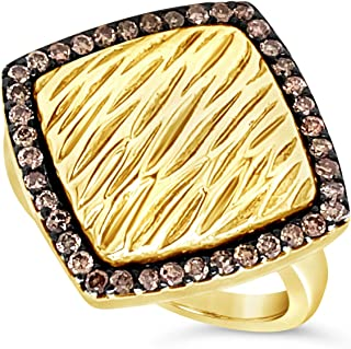 .925 Gold Vermeil Over Sterling Silver Chocolate Brown Diamond Square Textured Halo Cocktail Ring For Women 2/5 Carats