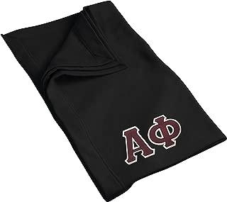 Alpha Phi Sweatshirt Blanket with Twill Greek Letters (Black)