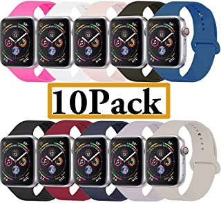 YANCH Compatible Apple Watch Band 38mm 42mm 40mm 44mm, Soft Silicone Sport Band Replacement Wrist Strap Compatible iWatch Series 4/3/2/1, Nike+,Sport,Edition,S/M M/L Size