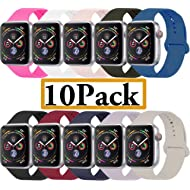 YANCH Compatible Apple Watch Band 38mm 42mm 40mm 44mm, Soft Silicone Sport Band Replacement Wrist...