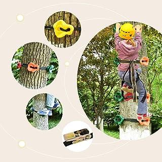 4YANG Traje para Escalar árboles Escalada en Roca 15 presas para trepar a los árboles y 6 Correas de trinquete para niños escaladores, Rocas para Escalar Adultos, Entrenamiento de obstáculos