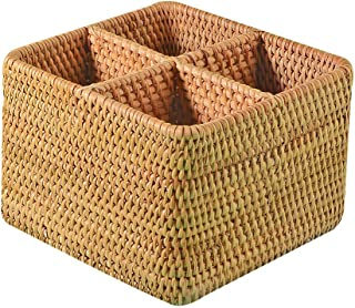 Handweaved Rattan 4 Compartments Storage Box Cosmetics Organizer Utensil and Bottle Serving Basket (180mm 4-compartment Box)