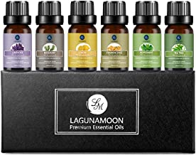 Lagunamoon Essential Oils Top 6 Gift Set Pure Essential Oils Gift Set for Diffuser, Humidifier, Massage, Aromatherapy, Skin & Hair Care