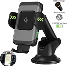 Wefunix Wireless Car Charger Mount, Automatic Clamping 10W Qi Fast Charging Holder Compatible with iPhone Xs Max/XR/X/8Plus/Samsung S10/S9+/S8/S7/Note9/8[QC3.0 Car Charger Included]