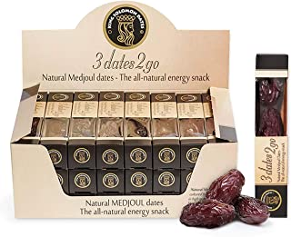 Medjool Dates in elegant Display Carton, 24 packs of 3 dates per pack, Premium Top Quality Larger Softer, Sweeter Dates From Date Palms. Superfood Snack, No preservatives, Natural Medjul Dates. Gluten