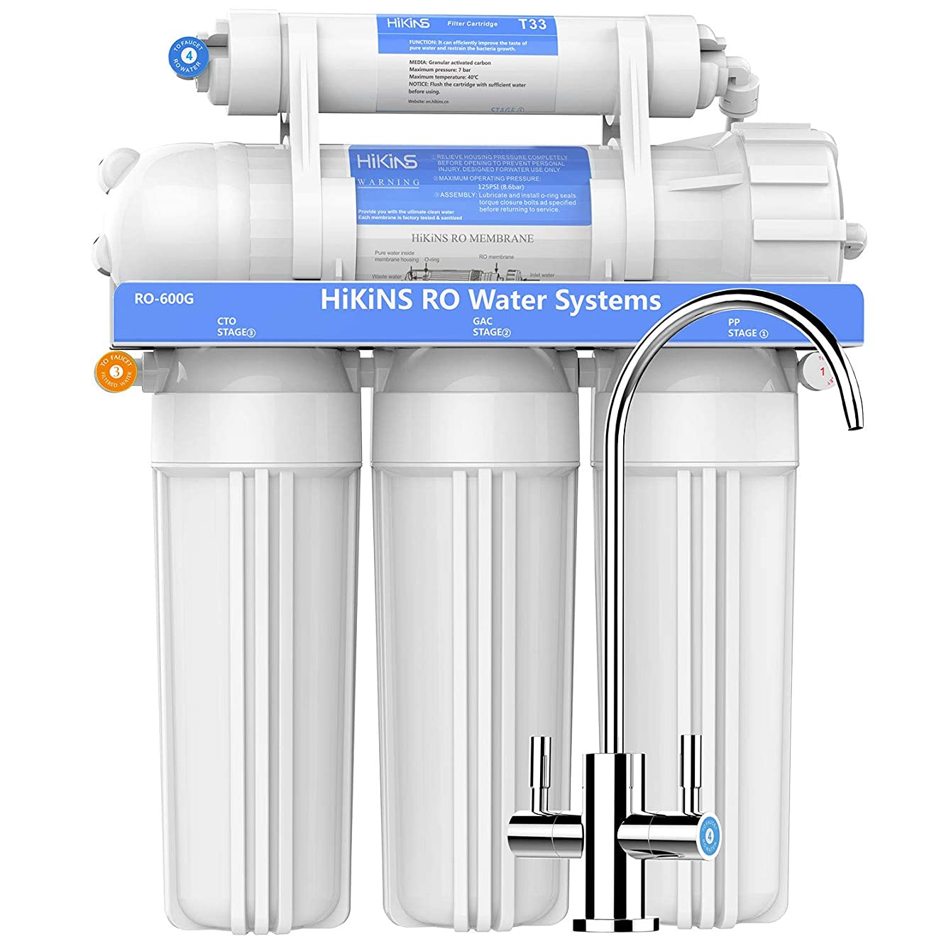 HiKiNS 600GPD Reverse Osmosis Water Filtration System Tankless High Flow 5-Stage Under Sink RO System with Double Water Quality