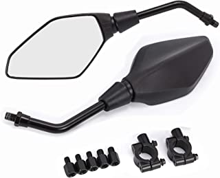 BISHERDER Universal Motorcycle Convex Side Mirrors - with 8mm 10mm Bolt, 7/8 Inch Handle Bar Mount Clamp for Yamaha Cruiser Chopper, Suzuki, Ducati,Scooter Moped ATV Dirt Bike
