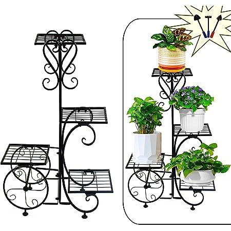 Black Corner Rack Iron Plant Pot Stand Flower Display Shelf Patio Garden Outdoor