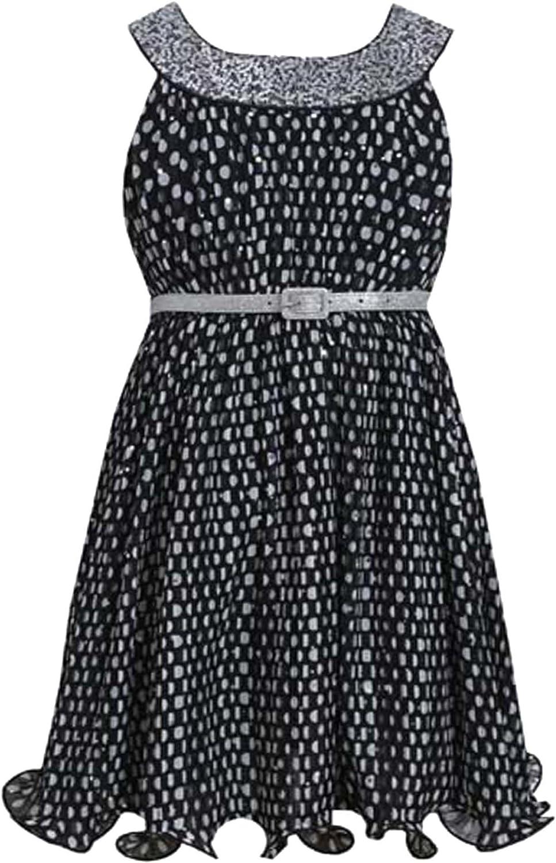 Little Girls 4-6X Black White Spangle Dot Print Belted Social Dress