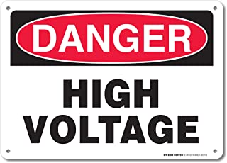 Danger High Voltage Rectangular Electrical Sign by My Sign Center - Rust Free, UV Coated and Weatherproof .040 Aluminum - Rounded Corners and Pre-Drilled Holes - 10