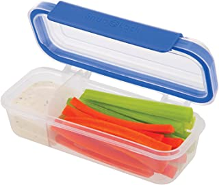 SnapLock by Progressive Snack Box Container - Blue, SNL-1020B  Easy-To-Open, Leak-Proof Silicone Seal, Snap-Off Lid, Stackable, BPA FREE
