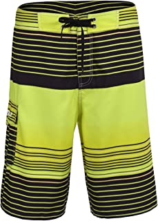 c326ed5ff9d Nonwe Men's Quick Dry Swim Trunks Colorful Stripe Beach Shorts with Mesh  Lining