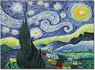 Fokenzary pintura al óleo pintada a mano sobre lienzo Vincent Van Gogh Classic Starry Night Reproduction Wall Decor enmarcado listo para colgar, 60 x 80 cm