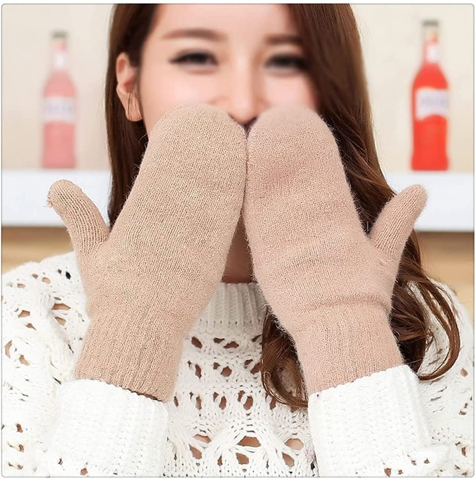 WBDL Women Winter Thick Knitted Cashmere Double Layer Knit Warm Mittens Female Cute Full Fingers Gloves