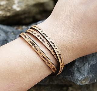 Fruit of the Spirit Wrap Leather Bracelet For Women Galations 5 Love Joy Peace Jesus Wristband Gift