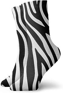 Black And White Zebra Skin Men's Polyester Half Cushion Mid-Crew Socks