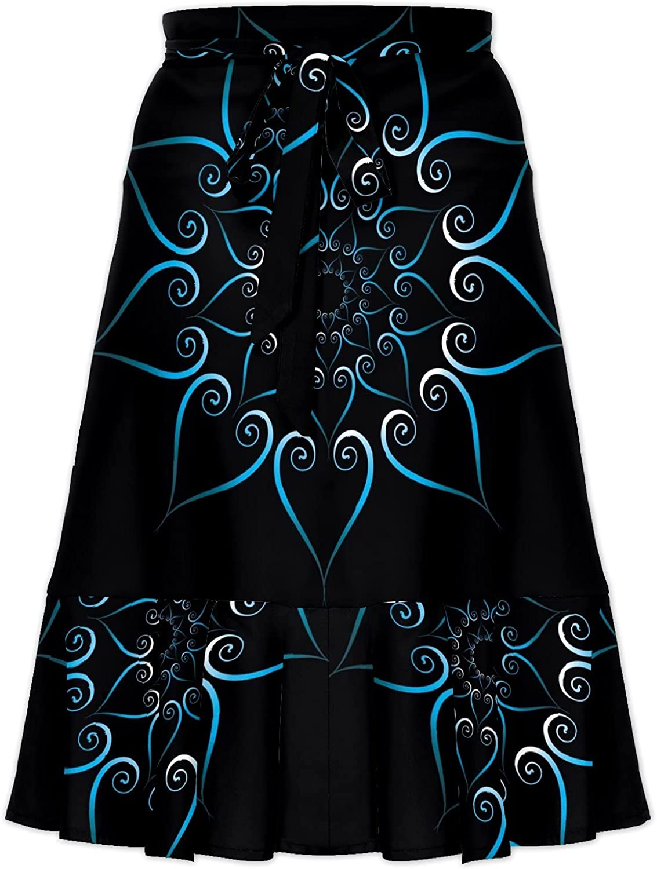 Women's Concentric Blue Design On Black Background Irregular Hem Ruffle High Low Split A Line Midi Wrap Skirt